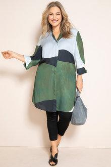Plus Size - Sara Colourblock Print Shirt - 230924