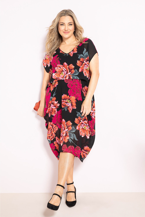 Plus Size - Sara Pleat Drape Dress