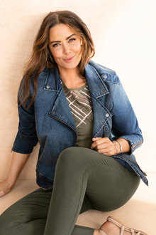 Plus Size - Sara Biker Denim Jacket