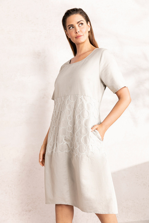 Plus Size - Sara Emb Linen Dress