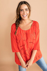 Plus Size - Sara Embroidered Front Top