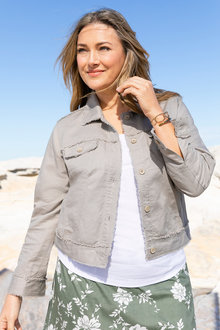 Plus Size - Sara Linen Crop Jacket