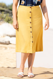 Plus Size - Sara Button Thru Skirt