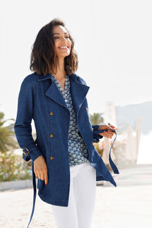 Euro Edit Chambray Trench Coat - 230978