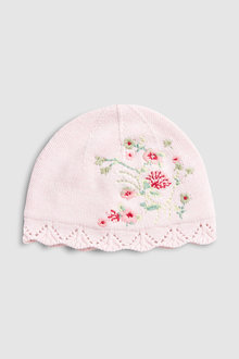 Next Floral Embroidered Knitted Hat (0mths-2yrs)