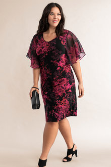 Plus Size - Sara Chiffon Sleeve Dress - 231042