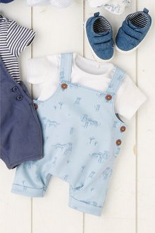 Next Tiger Print Cropped Dungarees And Bodysuit Set (0mths-2yrs)