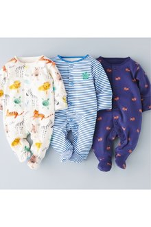 Next Jungle Animal Character Sleepsuits Three Pack (0mths-2yrs)