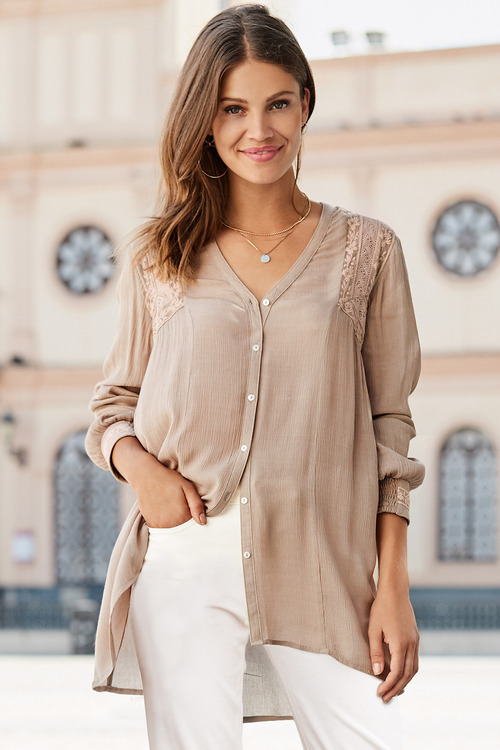 European Collection Crinkle Lace Detail Shirt