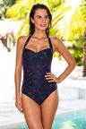 Nip Tuck Twist Front Halter One Piece