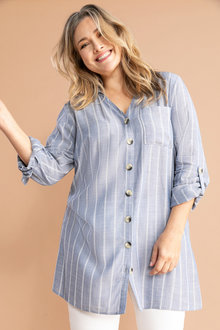 Plus Size - Sara Self Stripe Swing Shirt