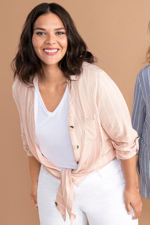 Sara Self Stripe Swing Shirt