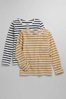 Pumpkin Patch Girls Long Sleeve Pocket Tee Yarn Dye Stripe