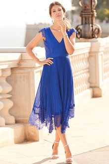 European Collection Pleated Lace Dress