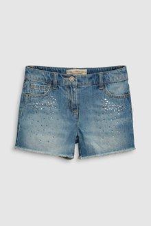 Next Sparkle Denim Shorts (3-16yrs)