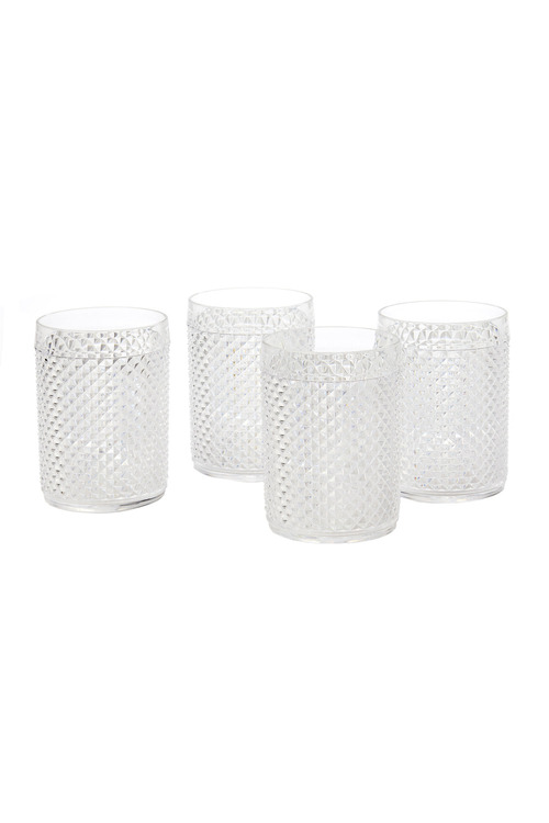 Acrylic Diamond Cut Tumbler Set of Four