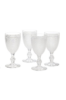 Acrylic Diamond Cut Goblet Set of Four