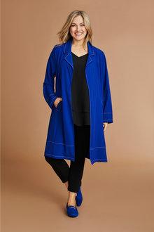 Plus Size - Sara Stitch Detail Long Jacket - 231293