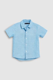 Next Short Sleeved Linen Blend Shirt (3mths-7yrs) - 231301