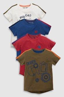 Next Digger T-Shirts Four Pack (3mths-7yrs)