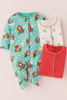 Next Strawberry Print Sleepsuits Three Pack (0mths-2yrs)