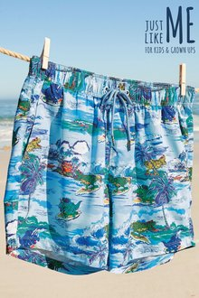 Next Dino Hawaiian Print Swim Shorts