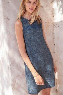 Next Linen Blend Shift Dress- Petite