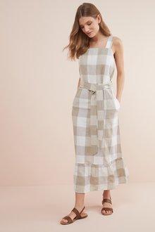 Next Linen Blend Ruffle Detail Dress