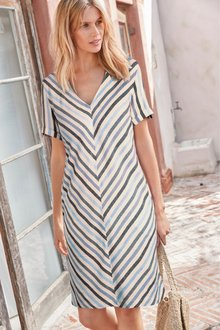 Next Linen Blend T-Shirt Dress - 231432