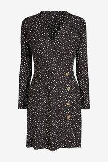 Next Long Sleeve Button Wrap Dress