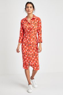 Next Floral Print Wrap Front Shirt Dress