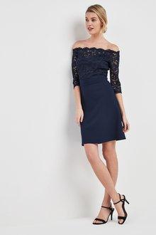 Next Lace Bardot Scuba Dress