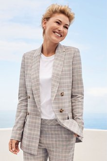Next Emma Willis Pastel Check Double Breasted Jacket- Petite