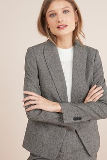Next Textured Single Breasted Jackets- Petite