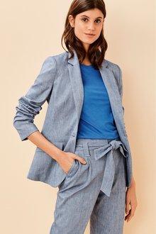 Next Cotton Linen Blend Blazer- Petite