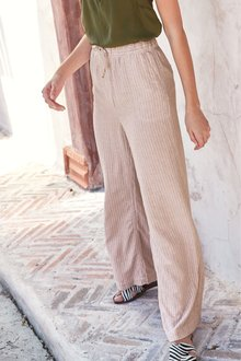 Next Linen Blend Wide Leg Trousers- Petite