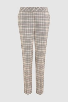 Next Check Pastel Slim Fit Trousers- Petite