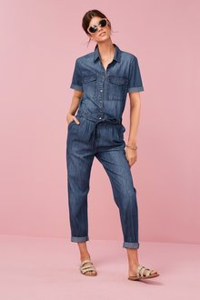 Next Short Sleeved Denim Boilersuit - 231586