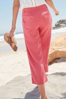 Next Linen Blend Cropped Trousers- Tall - 231627