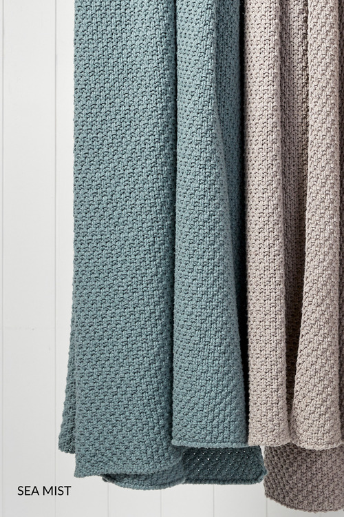 Moss Stitch Knitted Throw
