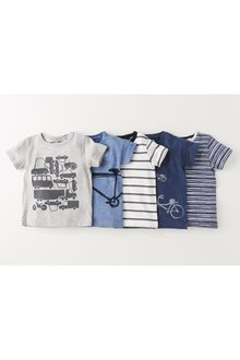 Next Transport Short Sleeve T-Shirts Five Pack (3mths-7yrs) - 231731