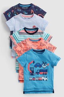 Next Transport Short Sleeve T-Shirts Five Pack (3mths-7yrs) - 231733