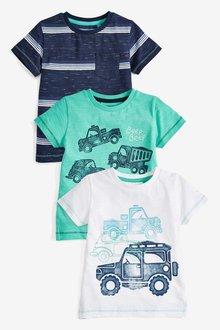 Next Car Short Sleeve T-Shirts Three Pack (3mths-7yrs)
