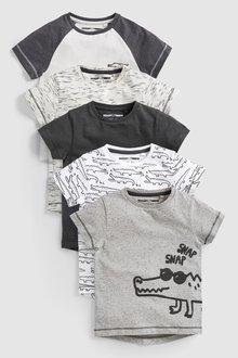 Next Crocodile Short Sleeve T-Shirts Five Pack (3mths-7yrs)