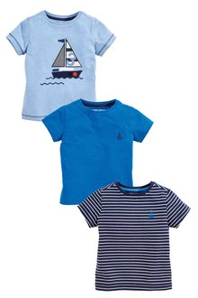 Next Applique Boats Short Sleeve T-Shirts Three Pack (3mths-7yrs)