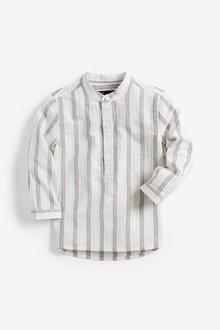 Next Long Sleeve Stripe Grandad Neck Shirt (3mths-7yrs)