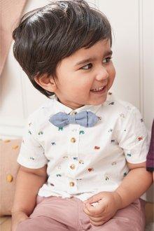 Next Car Print Short Sleeve Shirt And Bow Tie (3mths-7yrs)