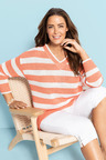 Plus Size - Sara V Neck Stripe Jumper