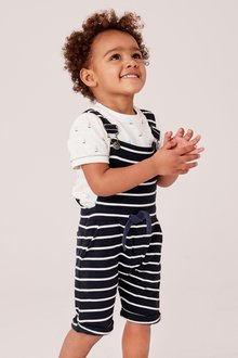Next Stripe Dungarees With T-Shirt Set (3mths-7yrs)