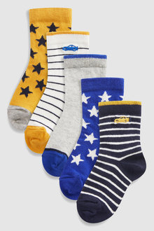 Next Car Embroidery Socks Five Pack (Younger)
